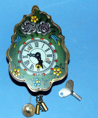 Vintage small wind up clock W.German new in box