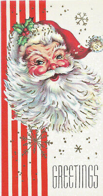 Vintage Happy Santa Nicely Drawn with Glitter 1960 Christmas Card
