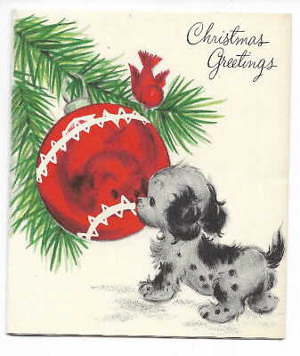 Vintage Cute Puppy & Cardinal Bird Playing with Ornament 1960s Christmas Card