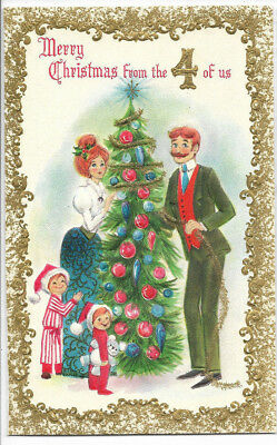 Vintage Hallmark From the Four of Us Embossed Images 1960s Christmas Card