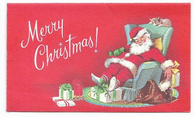 Vintage Sleepy Santa on the couch with Gifts Christmas card