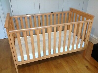 Mothercare  Cot, solid wood with mattress. Good condition. Only used for naps.