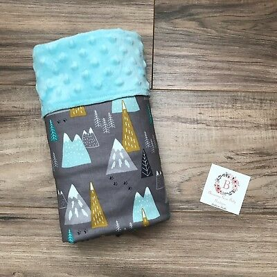 fab99bf172b11 MOUNTAINS WOODLAND MINKY BABY Blanket -  35.00