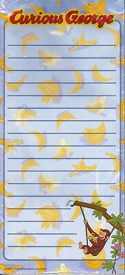 Curious George List Note Pad -Cute Monkey Swinging n Eating Banana Official NEW