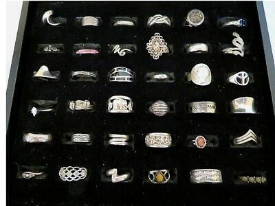 Lot of Thirty-Six (36) All Stamped Sterling 925 Vintage Rings - 101.6 gr.