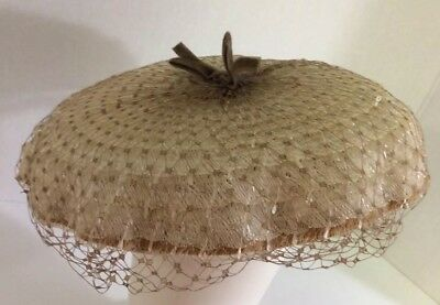 Vintage Cream Colored Hat With Netting