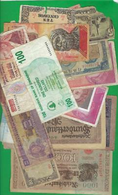 WORLD MIX >GERMANY,JAPAN,ETC..~ 25 x PAPER MONEY LOT # 2331 (*-*) POOR CONDITION