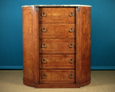 Antique Edwardian Era Tall French Marble Top Chest Of Drawers c.1905.