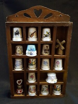 Vintage Thimble Display Case Wooden w/ Thimbles Bird Flower Musical Windmill