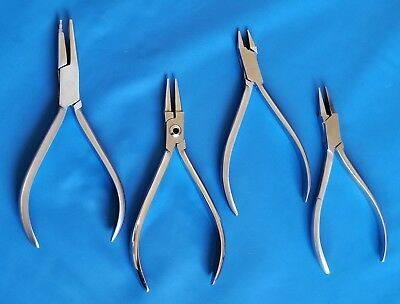 4 PCS FLAT ROUND CHAIN NOSE JAWS PLIERS JEWELLERY CONICAL DENTAL ORTHODONTIC