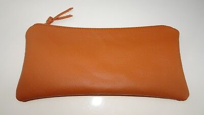 Real Leather Pencil Case Pen Coin Pouch Clutch Purse Traditional style Orange 2