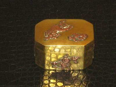 Stunning Antique Chinese Copper On Brass Lidded Box
