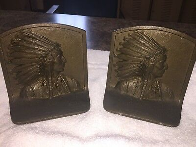 Vintage Lot Of 2 Brass Bronze Cast Iron Native American Indian Chief Bookends