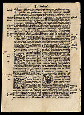 1519 Bible Leaf The Book of Psalms 68-72  Old Testament 4 Historiated Letters