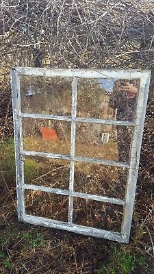 Architectural Salvage ANTIQUE WINDOW PANE FRAME RUSTIC 8 PANE 40X29 WAVY GLASS