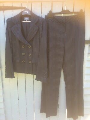 TM LEWIN Ladies Navy Pinstripe Double Breasted Lightweight Wool Trouser Suit 6