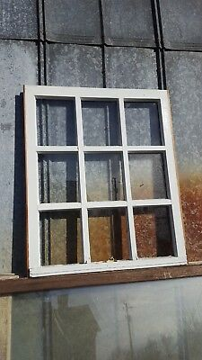 Architectural Salvage ANTIQUE WINDOW PANE FRAME RUSTIC 9 PANE 28X33 THICK GRIDS