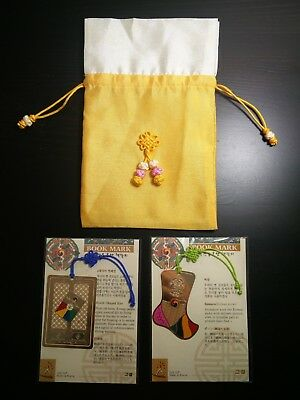 3 BRAND NEW Korean Traditional Book Marks (24K G/P) and Traditional Pouch