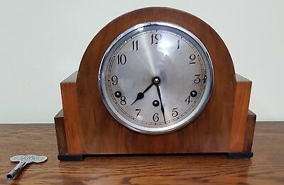 Garrard Art Deco Westminster Mantel Clock With Original Key. Working