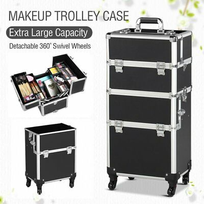 Professional Aluminum Makeup Artist Rolling Trolling Case Cosmetic Organizer