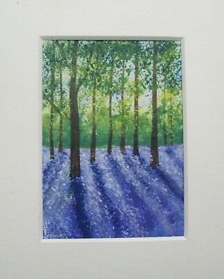 Original The Spring Bluebells Signed Landscape Miniature Aceo Painting