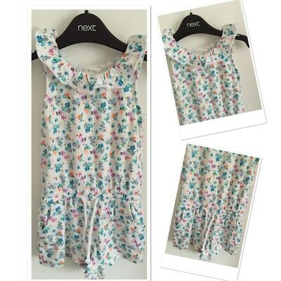 Next Baby Girls White Bright Floral Shorts Play suit 12-18 Months