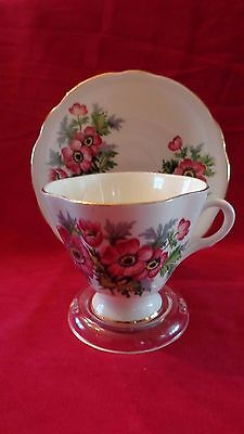 English Clarence Bone China Tea Cup Saucer Purple Pink Cherry Blossoms