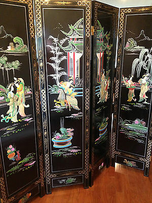 "Vintage Room Divider 71.5"" Tall~Asian~ Inlays W/mop,jade & Soapstone"