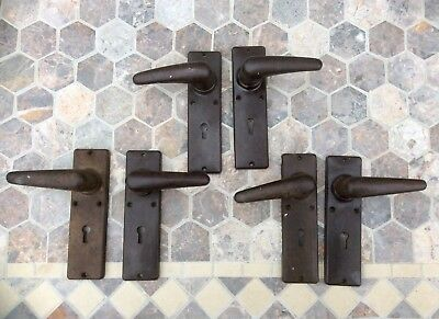 3 Pairs Antique Art Deco Brown BAKELITE Rim Lock Door Handles,School Reclaimed