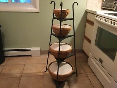 Longaberger Wrought Iron 4 Tier Stand with Bowl Baskets