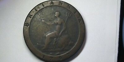 1797 2 Pence Great Britain Britannia King George III Copper Coin & Pouch UK NR