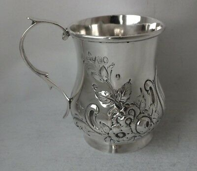 Embossed Antique Victorian Solid Sterling Silver Mug/ Cup 1845/ H 7.2 cm/ 83 g