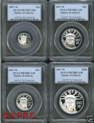 2007-W 4-Coins Set Platinum Statue Liberty Pcgs Proof Pr70 Pf70 $100 $50 $25 $10