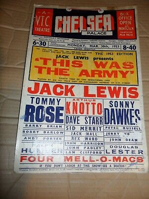 CHELSEA PALACE Music Hall Theatre 1953 Poster This Was Army Jack LEWIS DAWKES