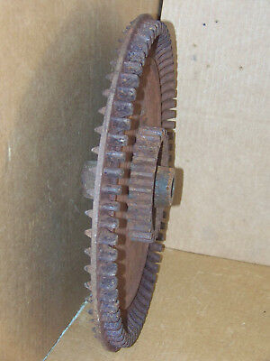 """Industrial Cast Iron 15"""" Cog Spiked Gear Steampunk Machine Age Lamp Rustic Decor"""