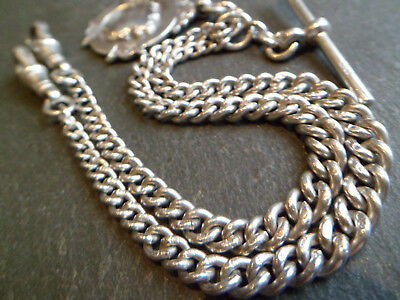 Antique Hallmarked Solid Silver Graduated Double Albert Pocket Watch Chain + Fob