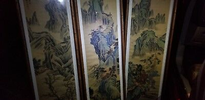 3 paneled framed antique Chinese silk scroll landscape paintings
