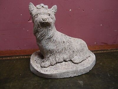 Weathered Antique Reconstituted Stone Yorkshire Terrier Garden Ornament Statue