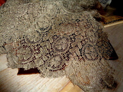 """Exquisite Antique French Metallic Lace From A Theatrical Piece From France 18"""""""
