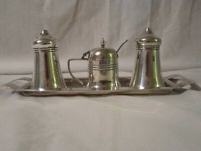 Vintage Silver-Plated Condiment Set With Blue Glass Liner