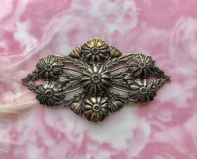 ANTIQUE BRASS Flower Flourish Ornament Flowers Stamping Ox Findings (FC-5)