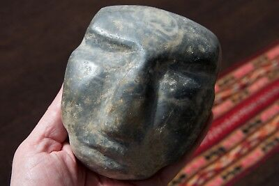 Authentic Large Pre Columbian Mezcala Chontal Head Aztec Mayan Olmec Mexican