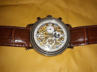 """Romilly Automatic Skeleton Mens Watch Brown Genuine Leather """"Crocodile"""" Band"""