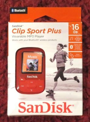 SanDisk - Clip Sport Plus 16GB - Bluetooth MP3 Player (Red) NEW 59 at bestbuy
