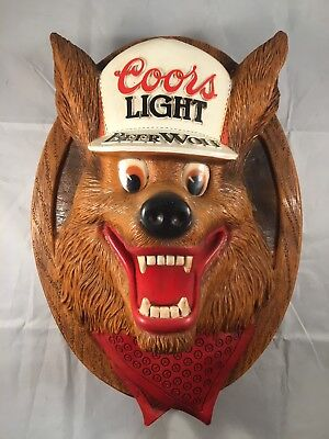 Vintage Coors Light Beer Wolf 3D Wall Mounted Beer Sign Plastic