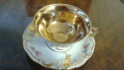 Porcelain Footed Teacup & Saucer Set, White with Gold trim