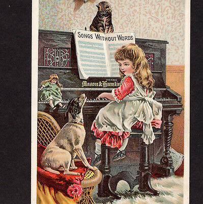 Antique Mason & Hamlin Piano Victorian Advertising Trade Card Girl Doll Cat Dog