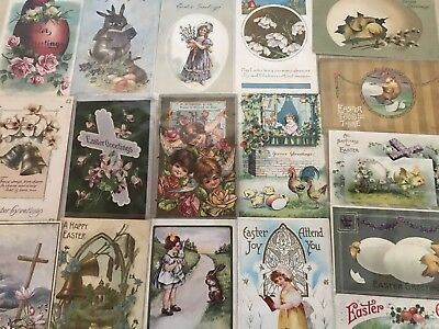 Nice Lot of 25 Vintage 1910 Easter Holiday Postcards Antique-in Sleeves-k790