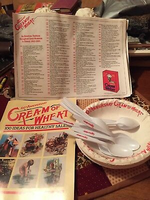 Cream Of Wheat 100th Anniversary Bowls, Spoons, Placemats, Recipes Book 1993