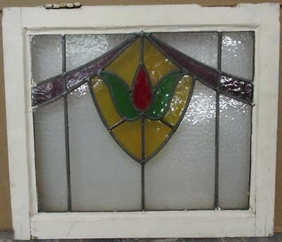 "OLD ENGLISH LEADED STAINED GLASS WINDOW Gorgeous Abstract Sweep 20.5"" x 17.75"""